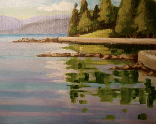 Reflections at Second Beach 8 x 10 acrylic on canvas