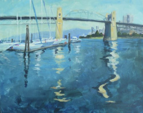Burrard Street Bridge 16 x 20 acrylic on canvas