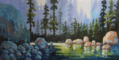 Light on The Capilano River 24 x 48 acrylic on canvas - sold