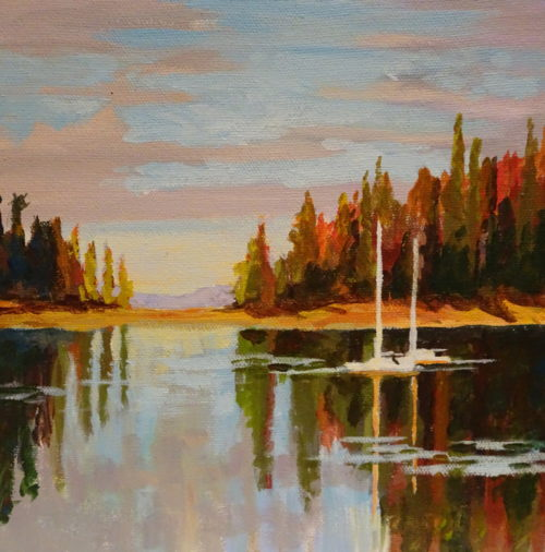 Gulf Island Anchorage 8 x 8 acrylic on canvas - sold