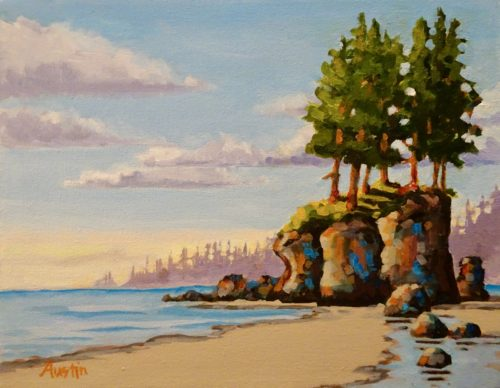 West Coast Stack 11 x 14 acrylic on canvas, donated to charity
