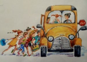 Lizzy and Holly – dashing for the bus with friend watercolour and ink