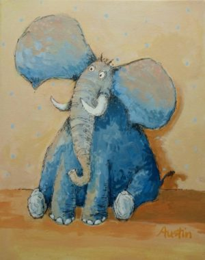 Storybook Elephant 11 x 14 acrylic and ink on canvas - sold