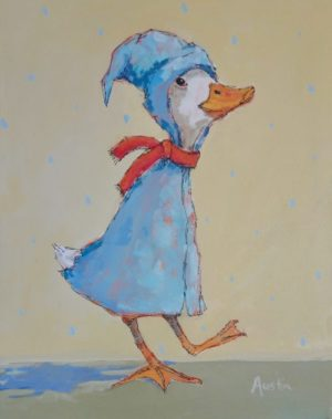 Storybook Duck 11 x 14 acrylic and ink on canvas - sold