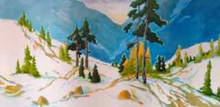 Spring Skiing 30 x 48 acrylic on canvas