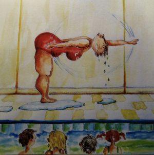 Swim Coach 10 x 10 watercolour & ink on paper
