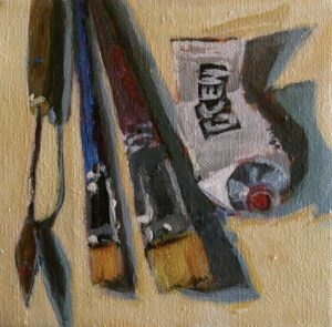 Tools of the Trade 6 x 6, acrylic on linen