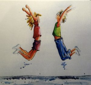 Let's give a cheer! 10 x 10 watercolour & ink on paper