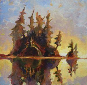 West Coast Island 7 x 7, acrylic on canvas - sold