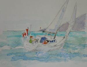 Sailing 10 x 10 watercolour and graphite on paper