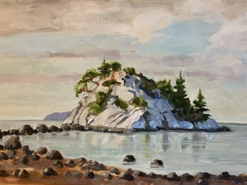 """<span class=""""entry-title-primary"""">Beach at Whytecliff Park</span> <span class=""""entry-subtitle"""">12 x 24, acrylic on canvas</span>"""