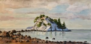 Beach at Whytecliff Park 12 x 24, acrylic on canvas - sold