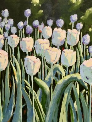 White Tulips 18 x 24, acrylic on canvas - sold