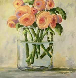 Ranunculus 36 x 36, acrylic on canvas - sold