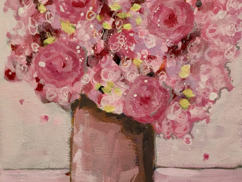 """<span class=""""entry-title-primary"""">Pink Bouquet</span> <span class=""""entry-subtitle"""">8 x 10, acrylic on canvas</span>"""