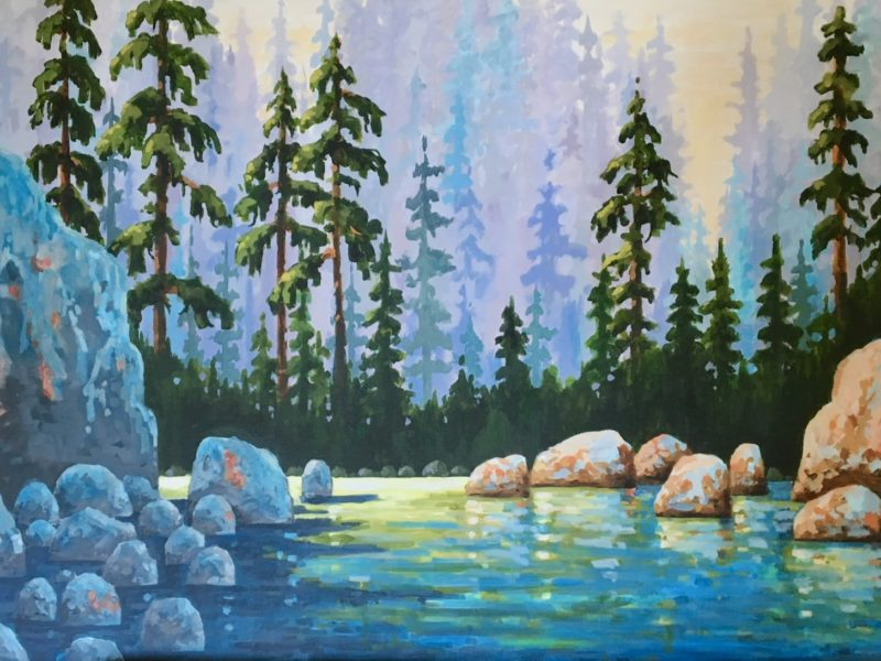 """<span class=""""entry-title-primary"""">Lower Lynn Creek</span> <span class=""""entry-subtitle"""">30 x 48, acrylic on canvas - sold</span>"""