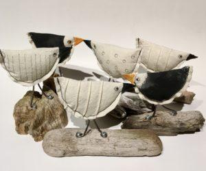 Tiny Beach Birds drift wood, canvas, acrylic paint, wire