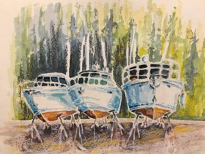 Landlubbers 8 x 10 watercolour and pastel