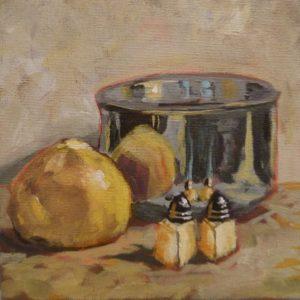 Grapefruit Reflection 8 x 8 acrylic on canvas