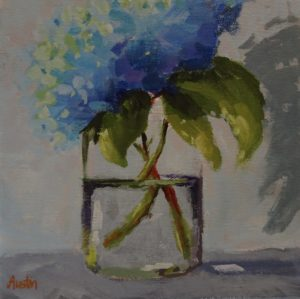 Hydrangea 8 x 8 acrylic on canvas