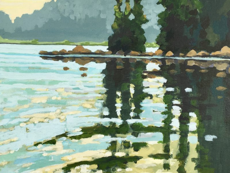 """<span class=""""entry-title-primary"""">Green Lake Reflections</span> <span class=""""entry-subtitle"""">11 x 14 acrylic on canvas - sold</span>"""