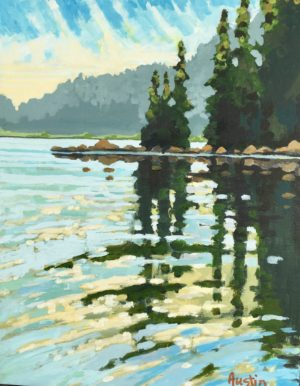 Green Lake Reflections 11 x 14 acrylic on canvas - sold