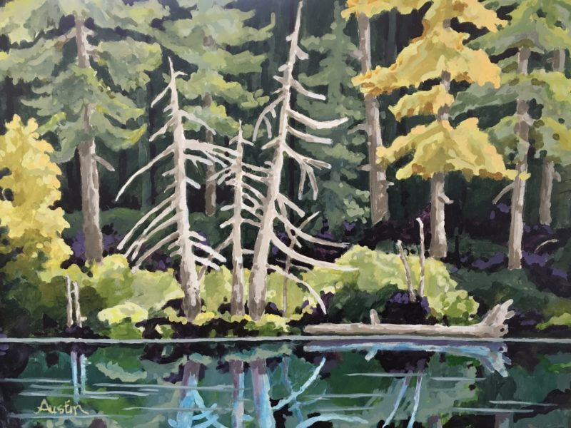 """<span class=""""entry-title-primary"""">Forest Reflections 2</span> <span class=""""entry-subtitle"""">18 x 24 acrylic on canvas</span>"""