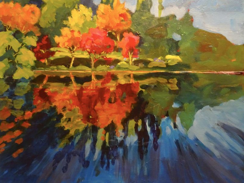 """<span class=""""entry-title-primary"""">Heron Lake Reflections</span> <span class=""""entry-subtitle"""">14 x 18 acrylic on canvas - donated</span>"""