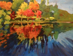 Heron Lake Reflections 14 x 18 acrylic on canvas - donated