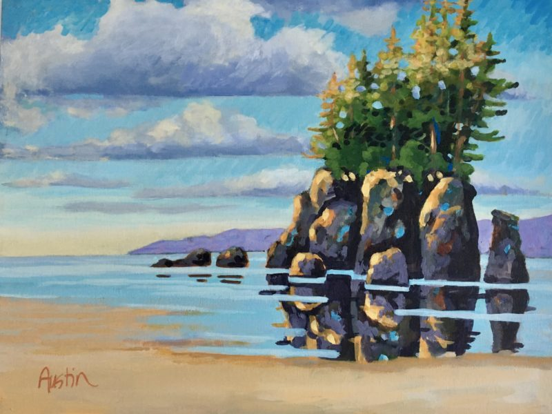 """<span class=""""entry-title-primary"""">Sea Stack, West Coast 1</span> <span class=""""entry-subtitle"""">16 x 20 acrylic on canvas - donated</span>"""