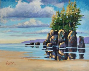 Sea Stack, West Coast 1 16 x 20 acrylic on canvas - donated to the Disability Association of BC