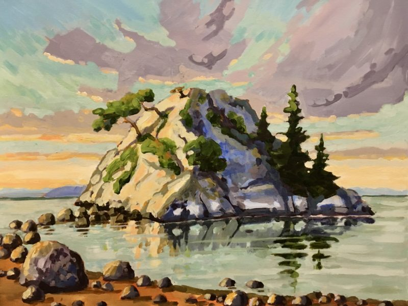 """<span class=""""entry-title-primary"""">Morning Light, Whyte Islet.</span> <span class=""""entry-subtitle"""">16 x 20, acrylic on canvas</span>"""