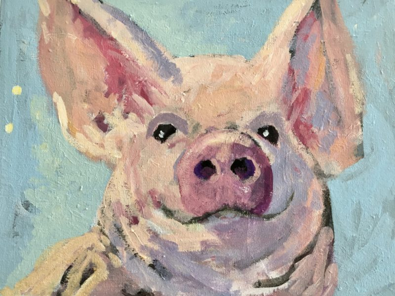 """<span class=""""entry-title-primary"""">Piggy</span> <span class=""""entry-subtitle"""">11 x 14, acrylic on canvas </span>"""