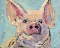 Piggy 11 x 14, acrylic on canvas