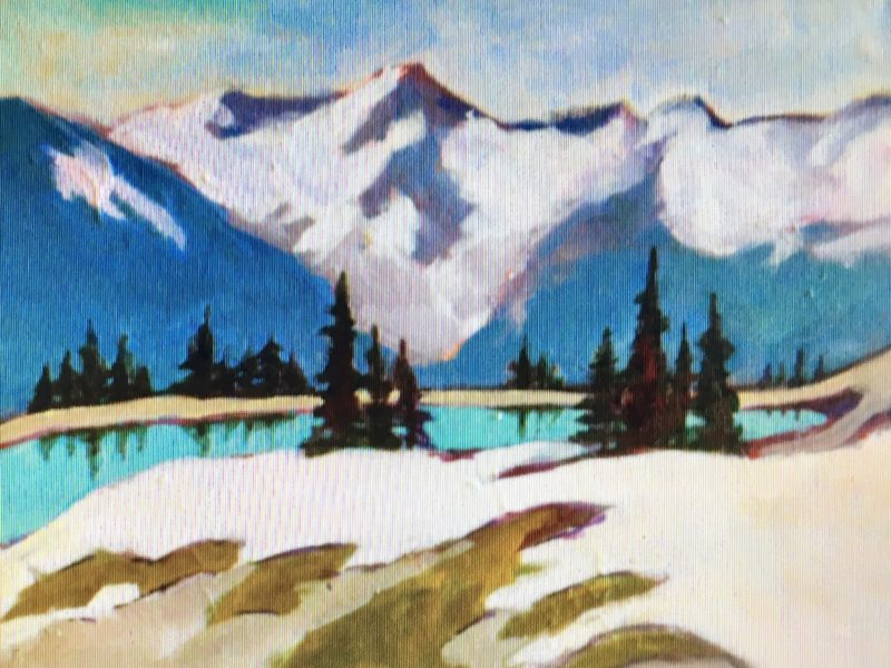 """<span class=""""entry-title-primary"""">Glacial Lake</span> <span class=""""entry-subtitle"""">8 x 10, acrylic on canvas - sold</span>"""