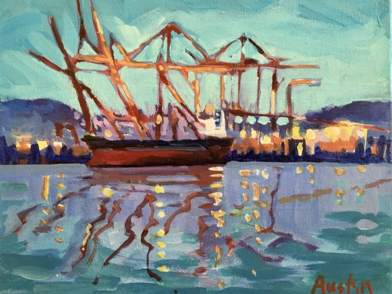 """<span class=""""entry-title-primary"""">Lights at the Dock</span> <span class=""""entry-subtitle"""">8 x 10, acrylic on canvas</span>"""