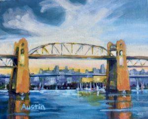 Burrard Bridge Pattern 8 x 10, acrylic on canvas