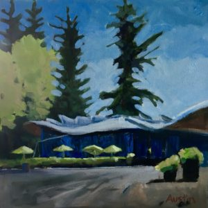 VanDusen Visitor Centre 12 x 12, oil on canvas