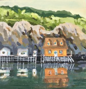 Quidi Vidi Harbour 8 x 8, acrylic on canvas