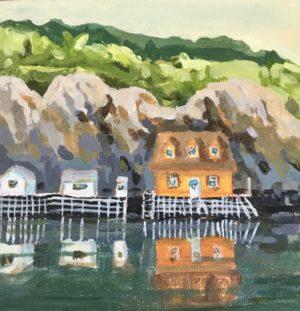 Quidi Vidi Harbour 8 x 8, acrylic on canvas