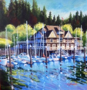 The Rowing Club acrylic on canvas, 36 x 36 - sold