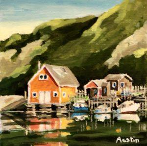 Quidi Vidi 4, Newfoundland 8 x 8, acrylic on canvas