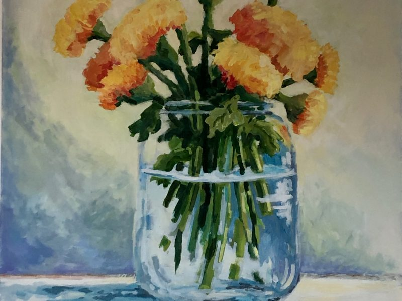 "<span class=""entry-title-primary"">Marigolds</span> <span class=""entry-subtitle"">36 x 36, acrylic on canvas</span>"
