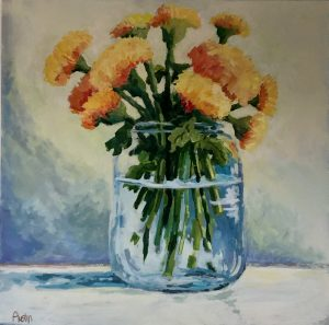Marigolds 36 x 36, acrylic on canvas