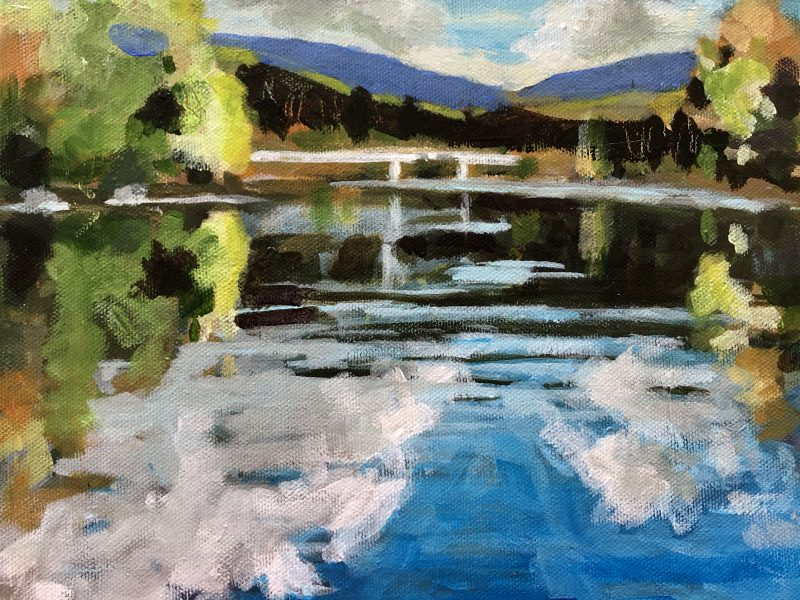 """<span class=""""entry-title-primary"""">Capilano River</span> <span class=""""entry-subtitle"""">8 x 10, acrylic on canvas</span>"""