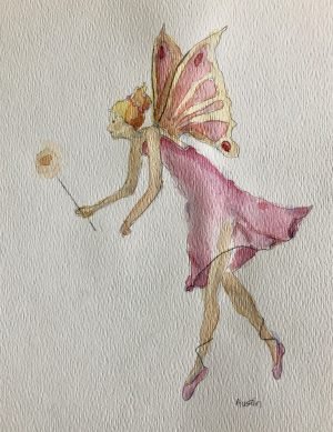 Tiny Fairy 6 x 8, watercolour on paper