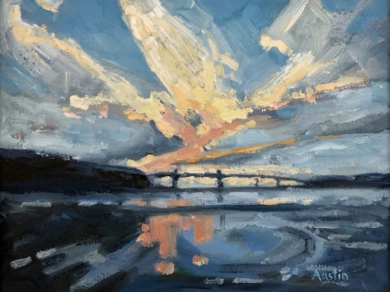 """<span class=""""entry-title-primary"""">Second Narrows Sunset</span> <span class=""""entry-subtitle"""">8 x 10, oil on canvas</span>"""