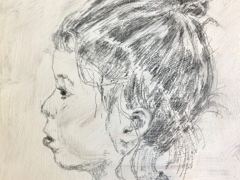 """<span class=""""entry-title-primary"""">Young Lady</span> <span class=""""entry-subtitle"""">6 x 6, graphite on pine board</span>"""