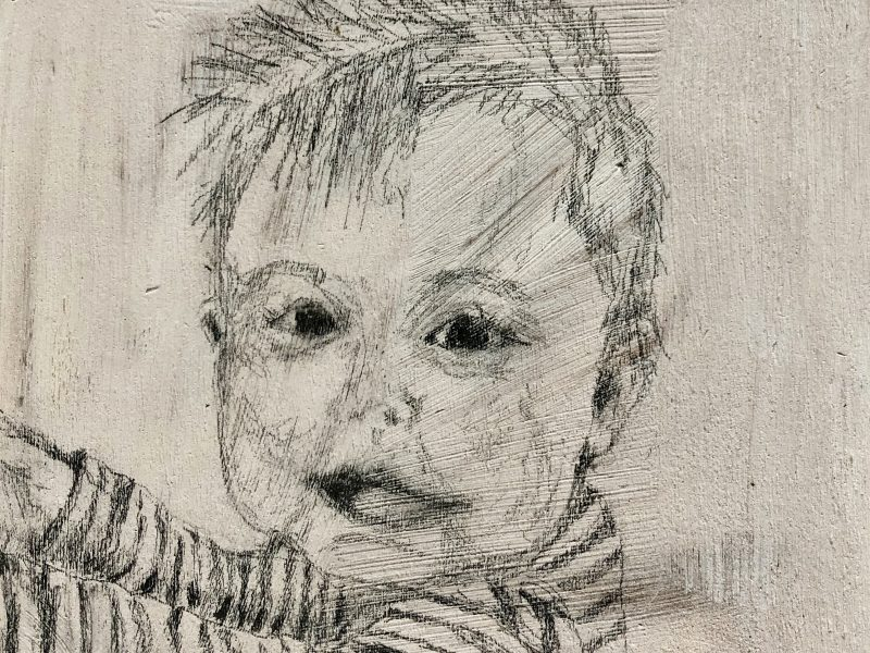 """<span class=""""entry-title-primary"""">Elliott</span> <span class=""""entry-subtitle"""">6 x 6, graphite on pine board</span>"""
