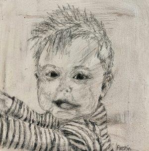 Elliott 6 x 6, graphite on pine board